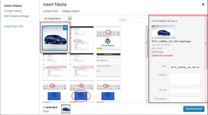 WordPress 3.5 Media Library available media