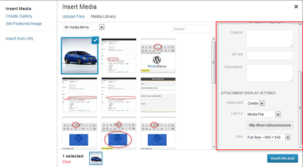 WordPress 3.5 Media Library additional options